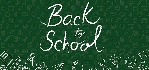 """Green and white graphic with school related icons and text """"Back to School"""""""