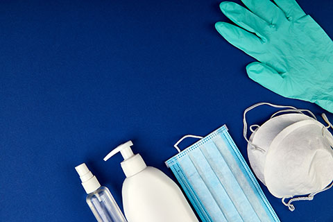 Image with gloves, masks, and sanitizer