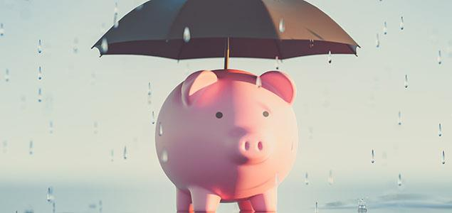 Piggy bank with umbrella in the rain