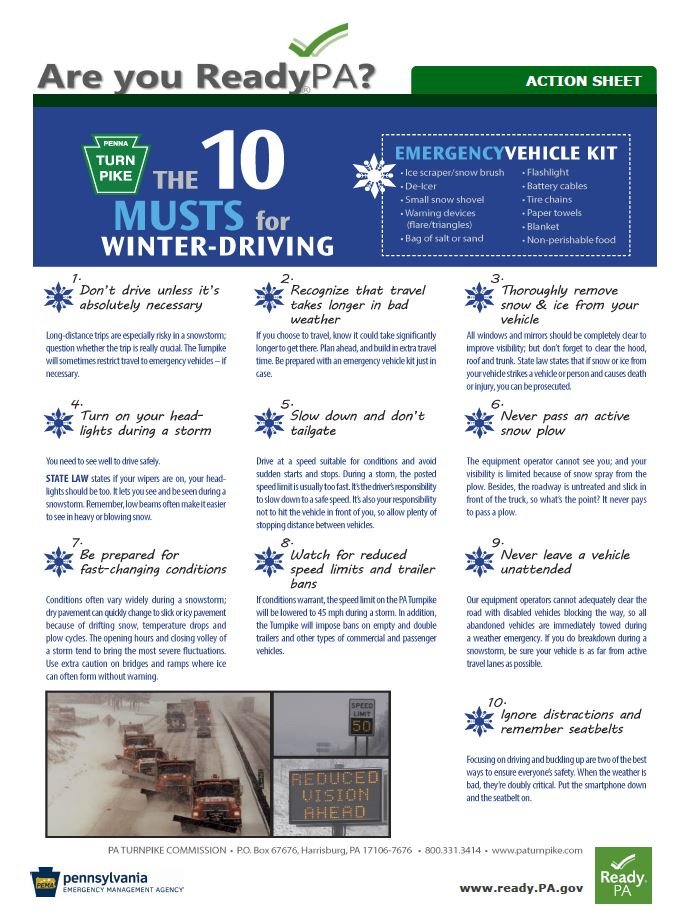 The 10 Musts for Winter Driving fact sheet with emergency vehicle kit and other information
