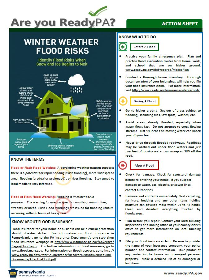 Winter weather flood risks action sheet