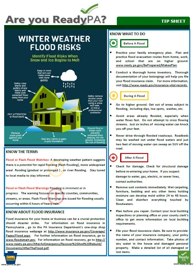 Are you Ready PA Tip Sheet about Winter Weather Flood Risks